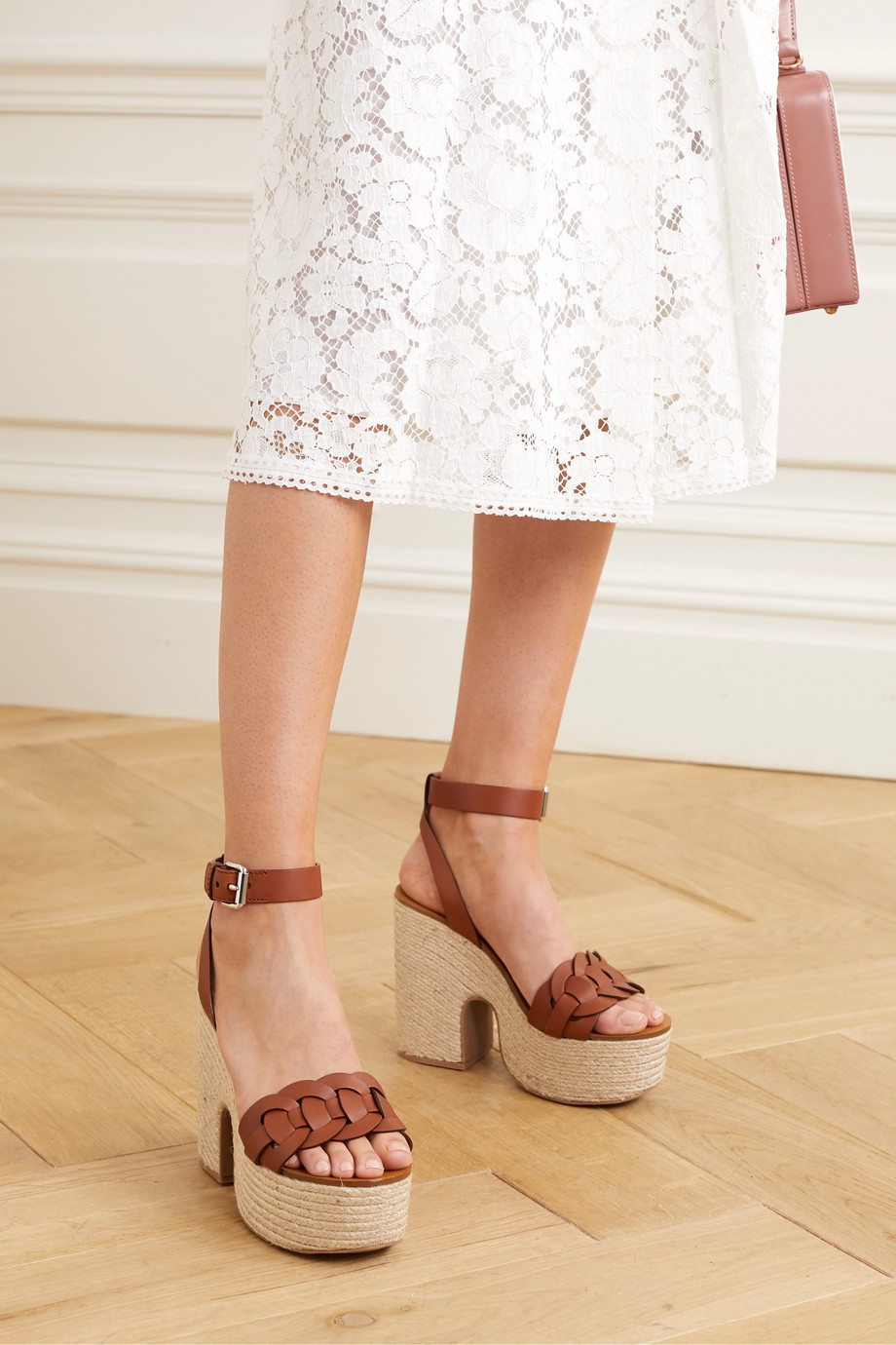 Miu Miu Woven leather espadrille wedge sandals