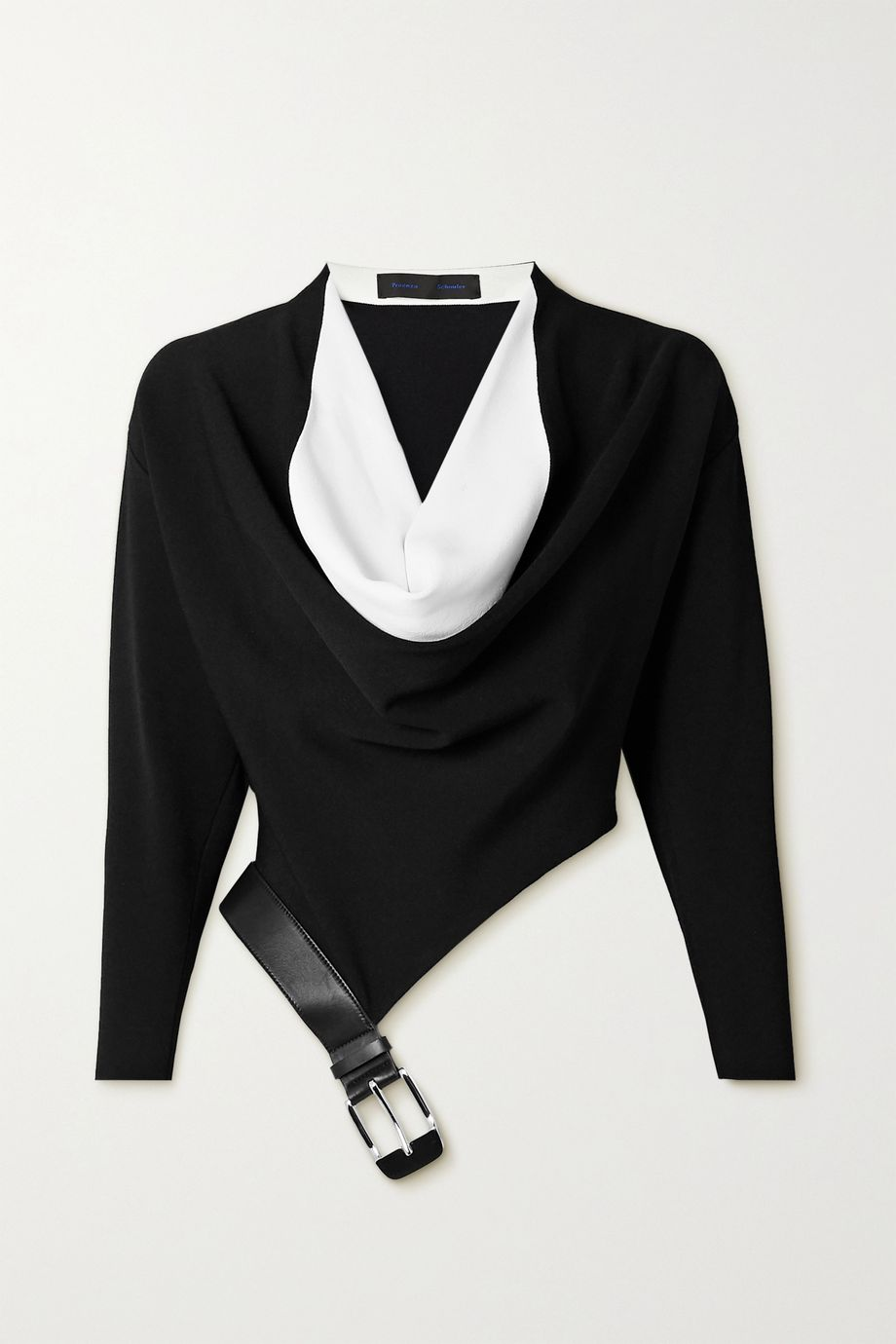 Proenza Schouler Draped two-tone leather-trimmed stretch-knit blouse