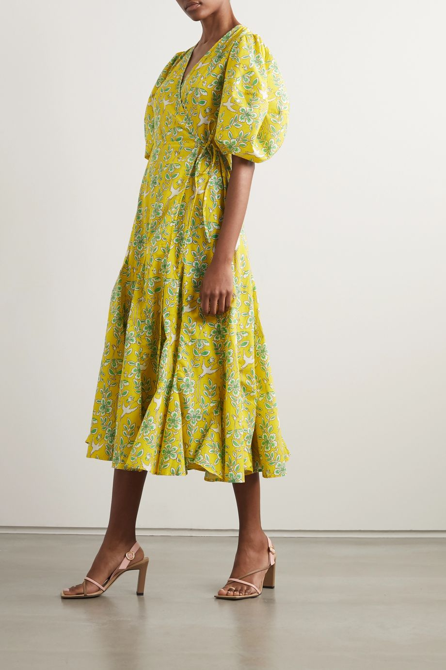 Rhode Fiona floral-print cotton-poplin wrap dress