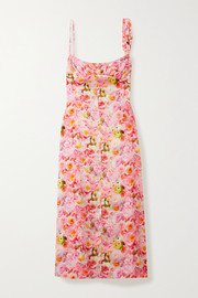 Commission Buckle-detailed gathered floral-print satin midi dress