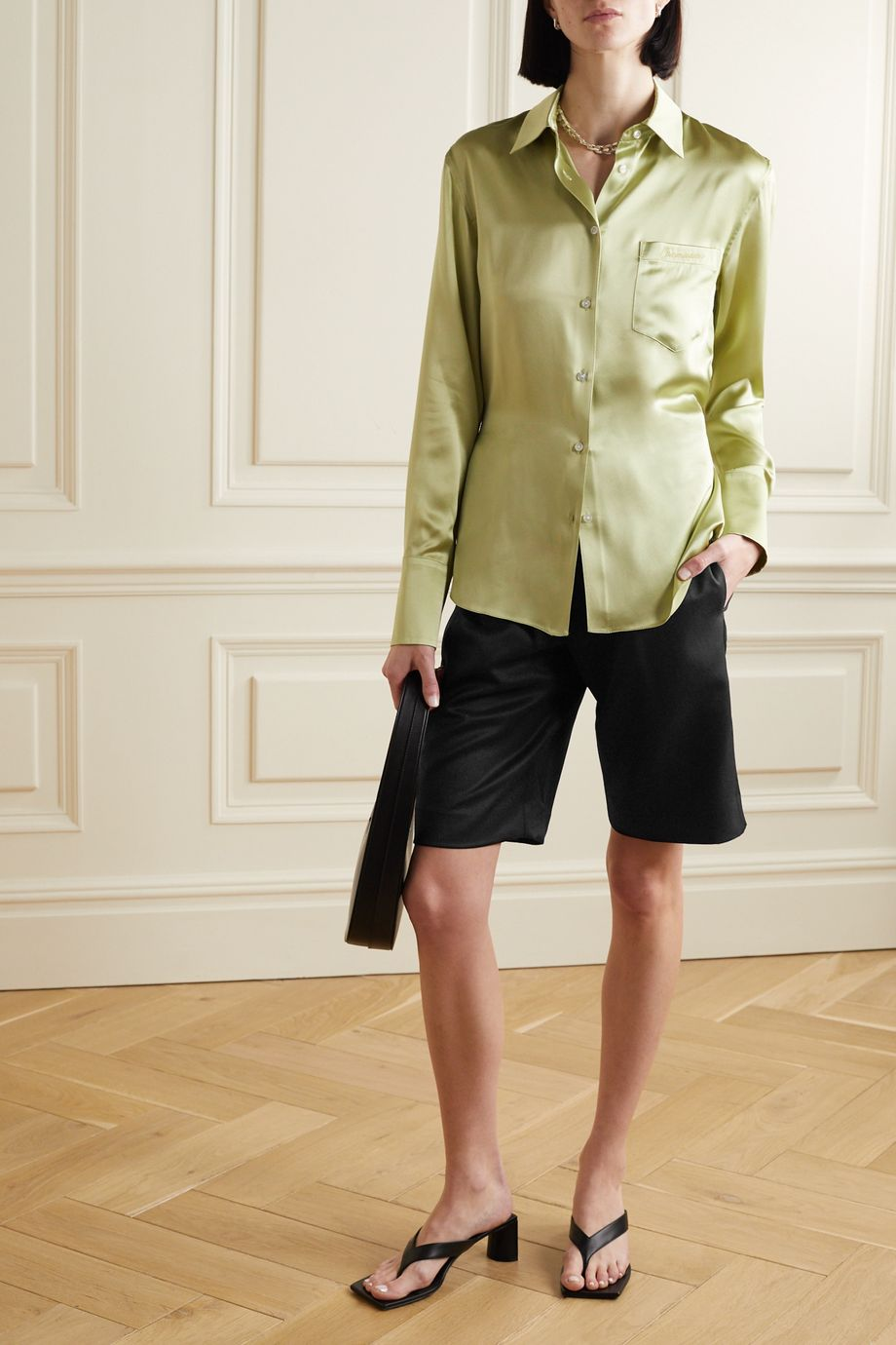 Commission Pleated wool-twill shorts