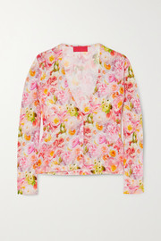 Commission Floral-print stretch-jersey cardigan