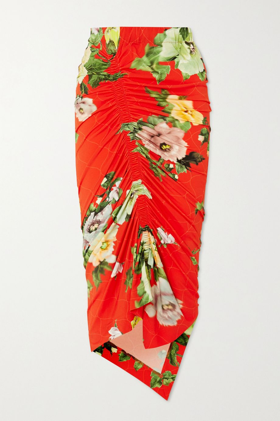 Preen by Thornton Bregazzi Xenie ruched floral-print stretch-crepe midi skirt