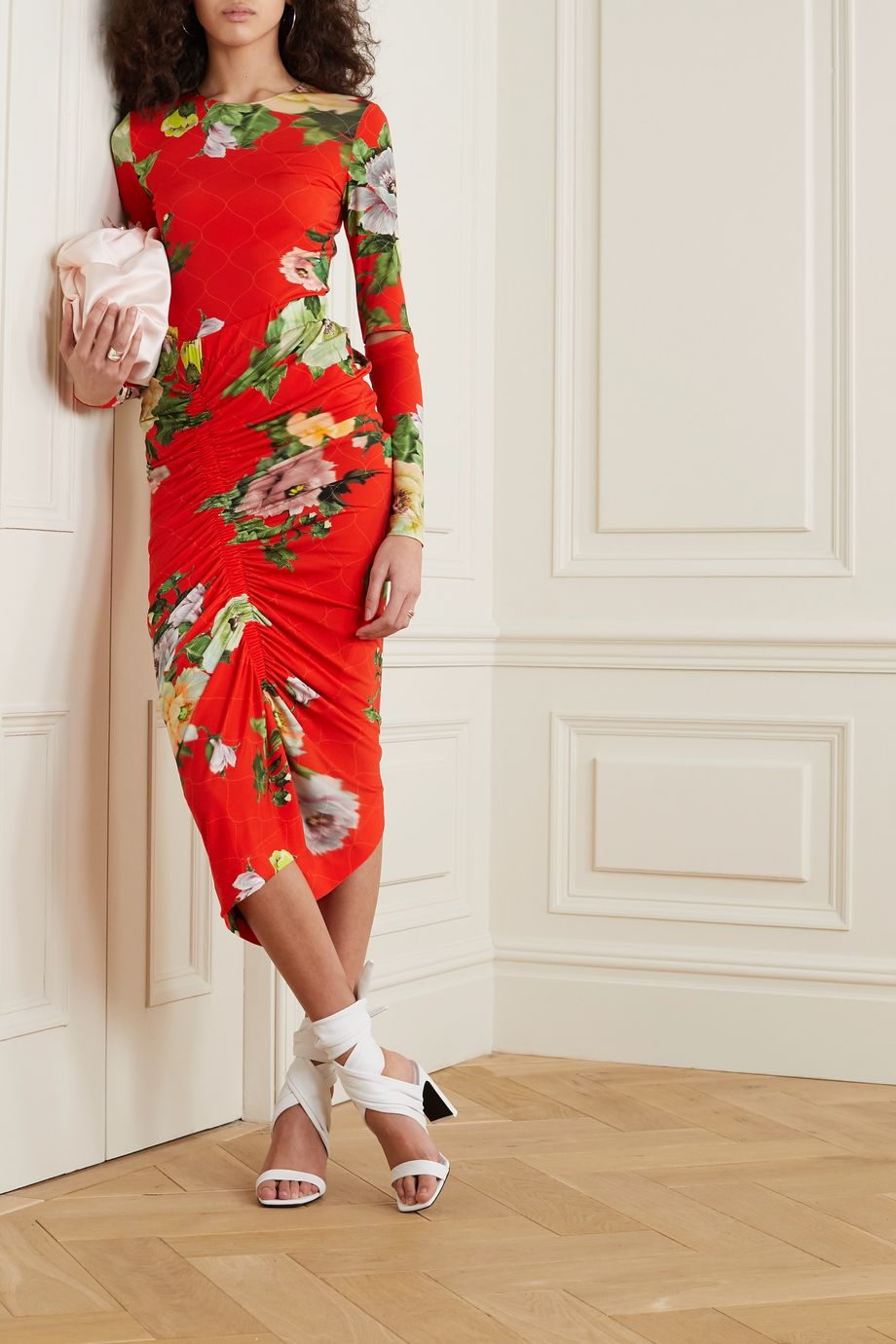 Preen by Thornton Bregazzi Xenie ruched floral-print stretch-crepe midi skirt