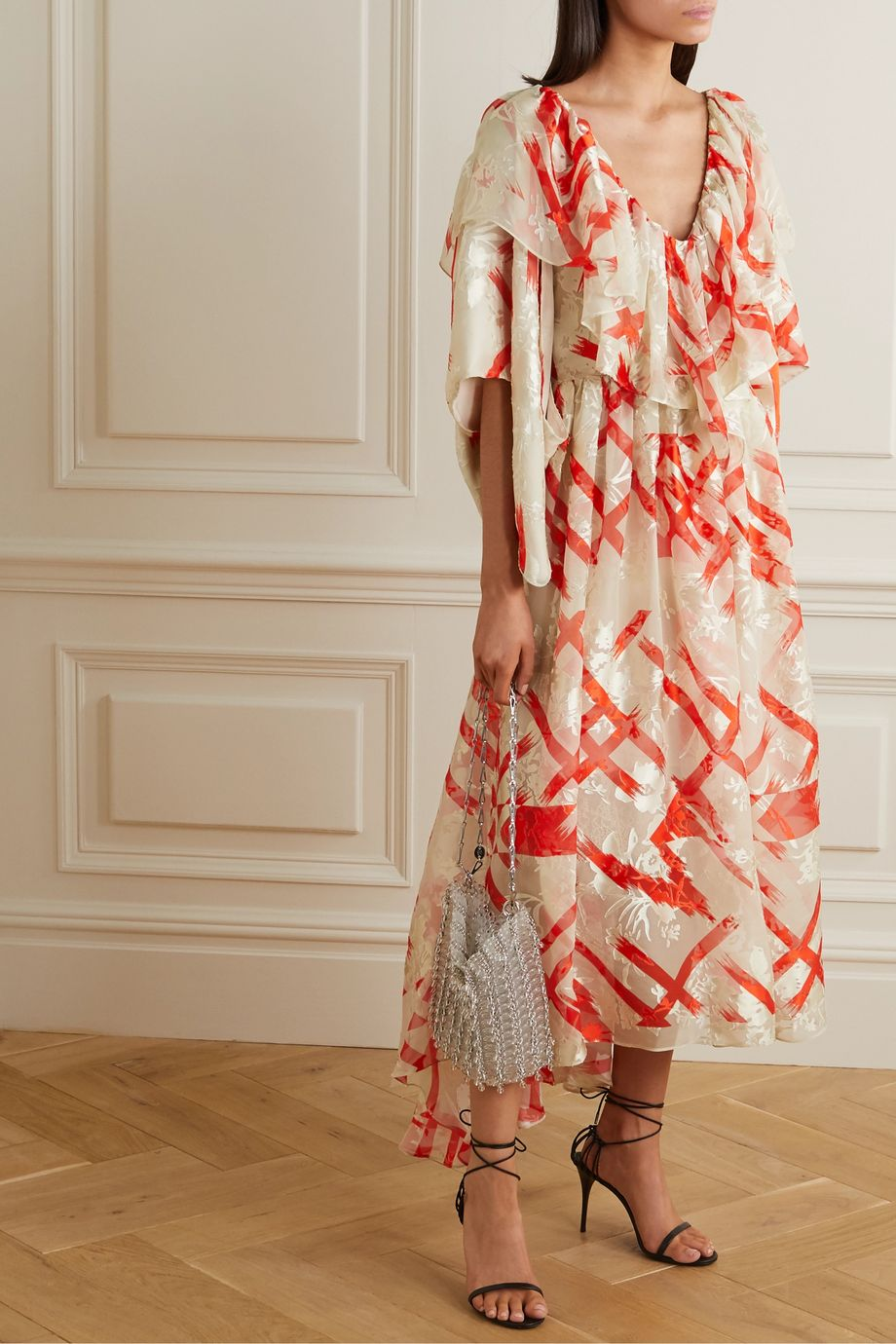 Preen by Thornton Bregazzi Issy ruffled asymmetric printed devoré georgette dress