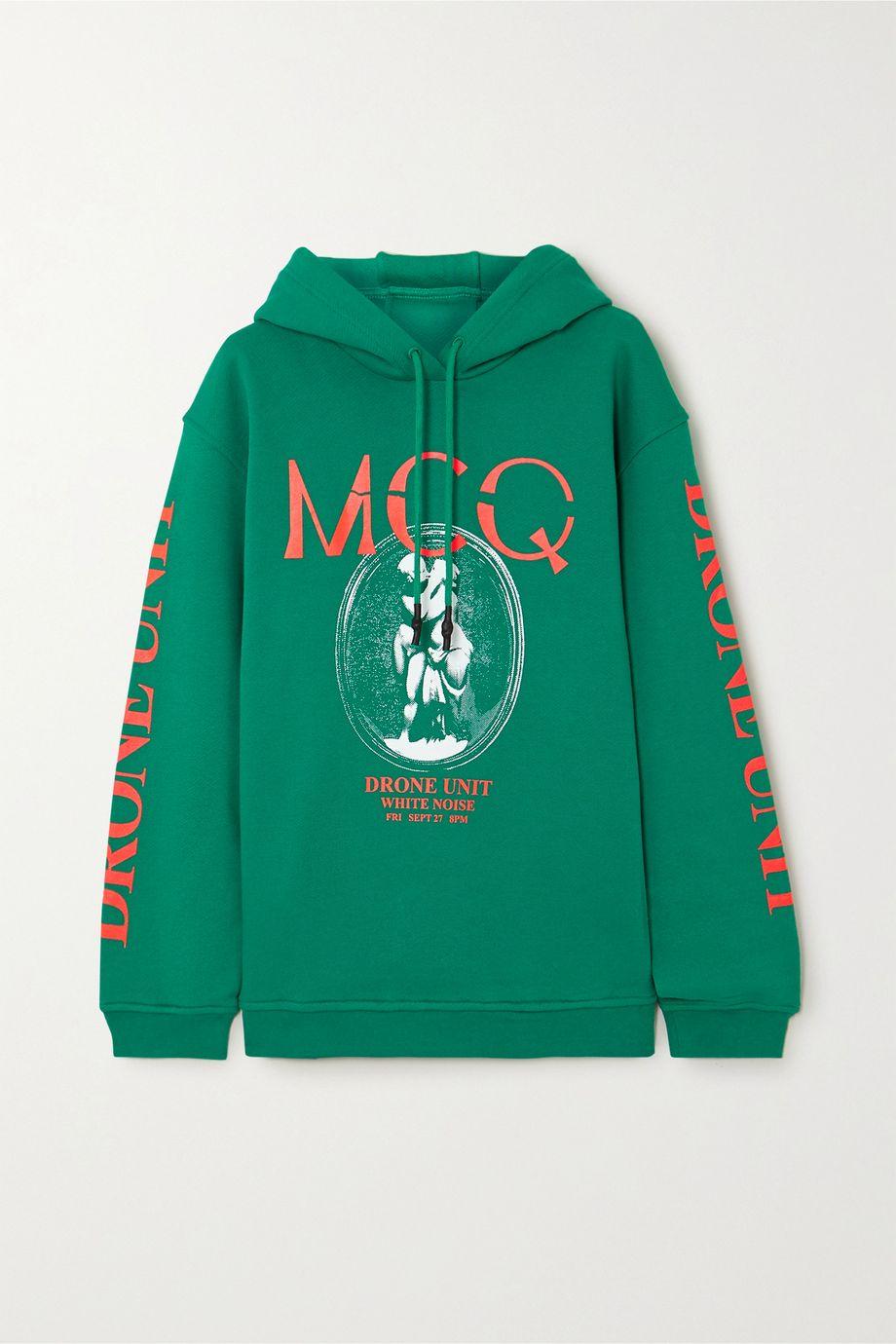 McQ Alexander McQueen Oversized printed cotton-jersey hoodie