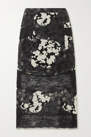 Paneled floral-print silk-chiffon and lace midi skirt