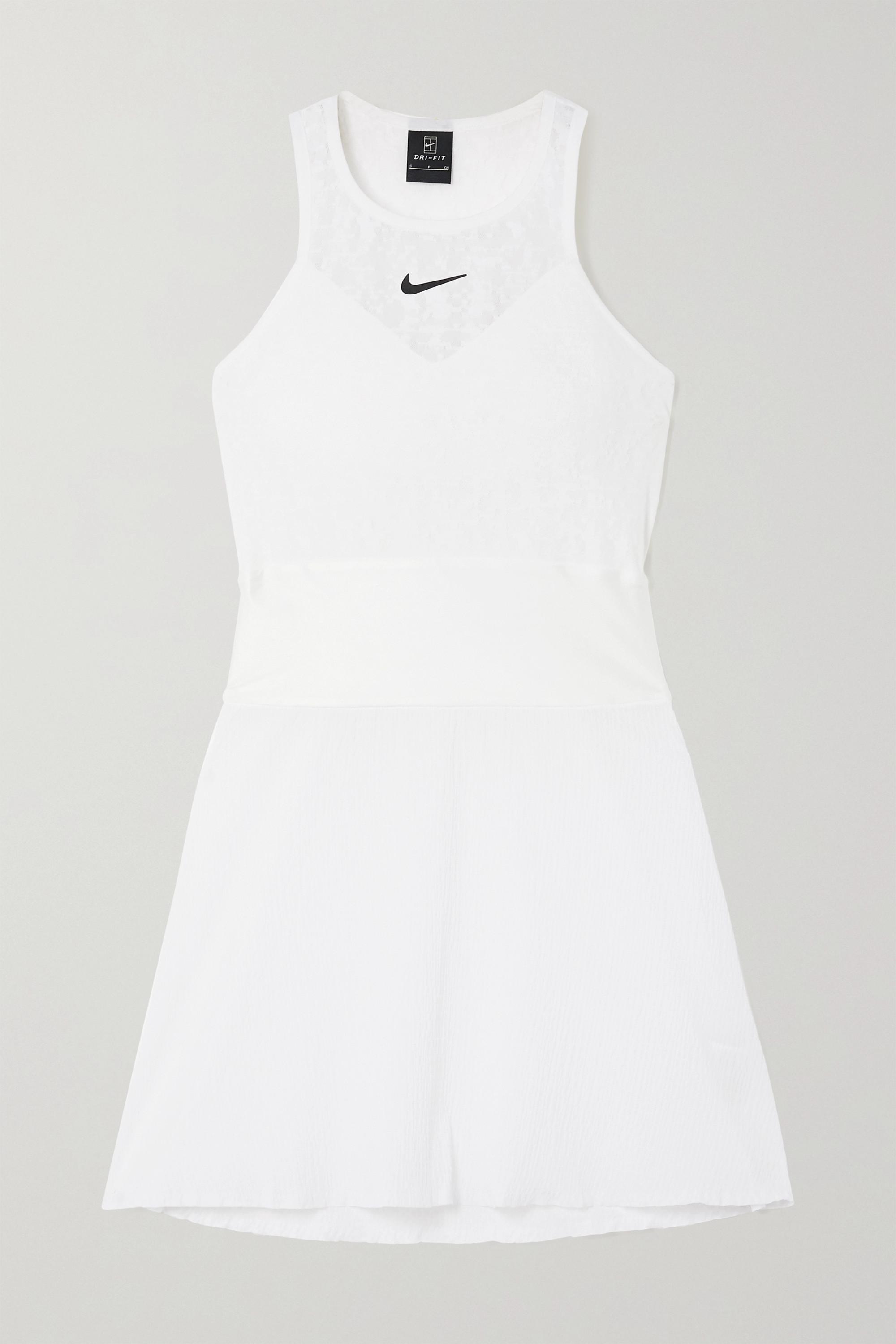 Nike Maria Mini-Tenniskleid aus Stretch-Spitze und Seersucker mit Satinbesatz und Cut-out
