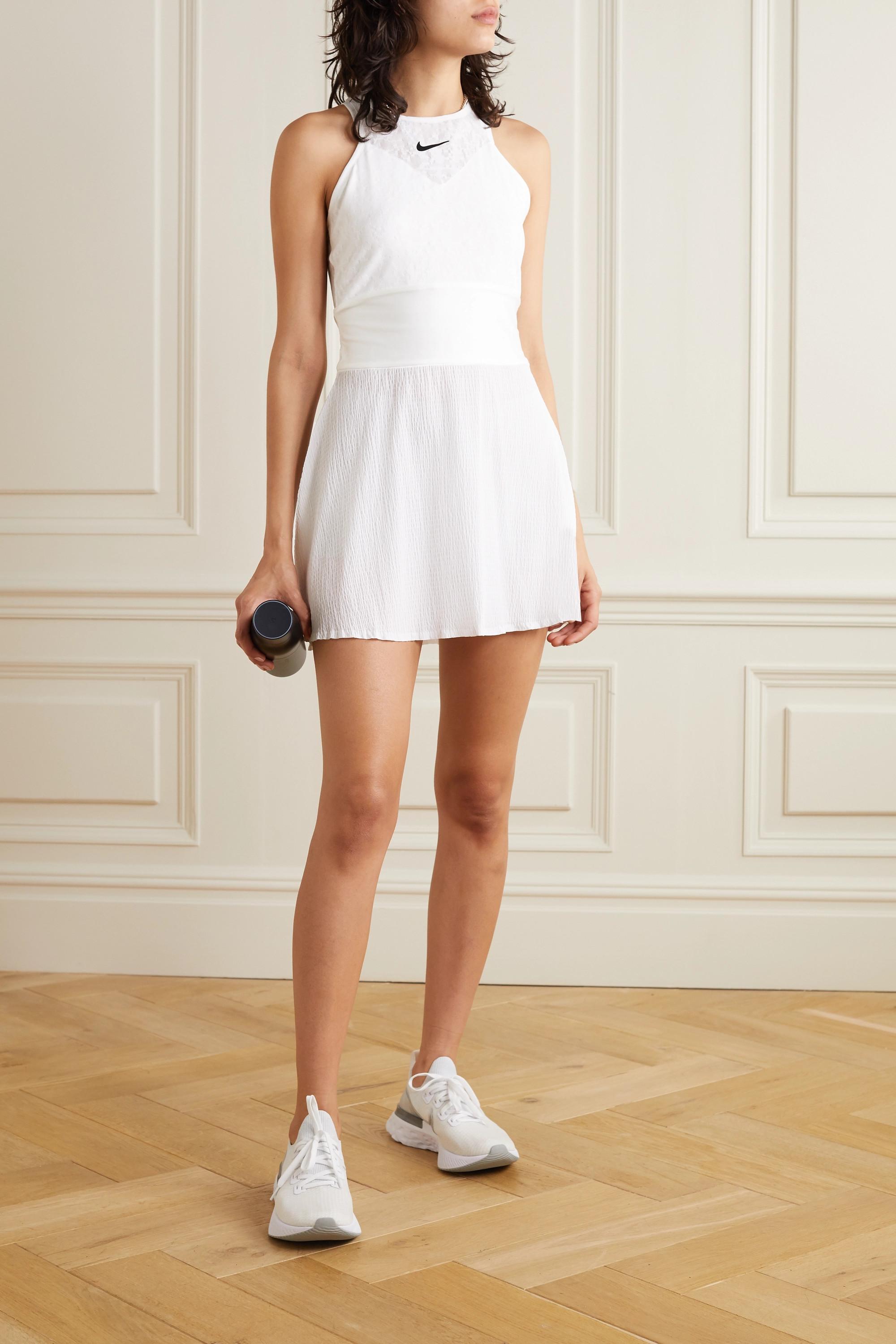 White Maria Cutout Satin Trimmed Stretch Lace And Seersucker Mini Tennis Dress Nike Net A Porter