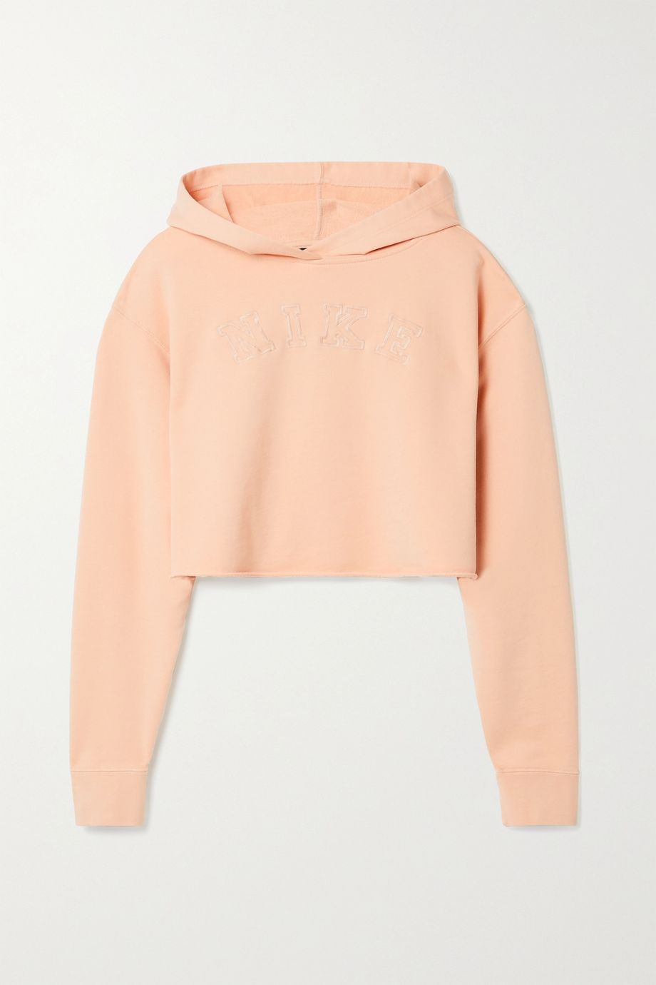 Nike Cropped embroidered French cotton-blend terry hoodie