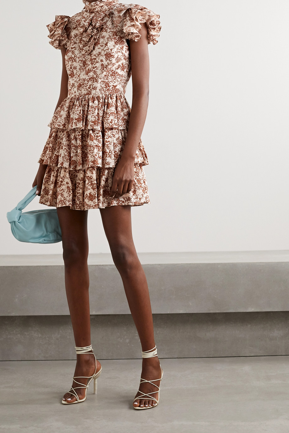 Caroline Constas Mini-robe en popeline de coton à imprimé fleuri et à volants Kyra