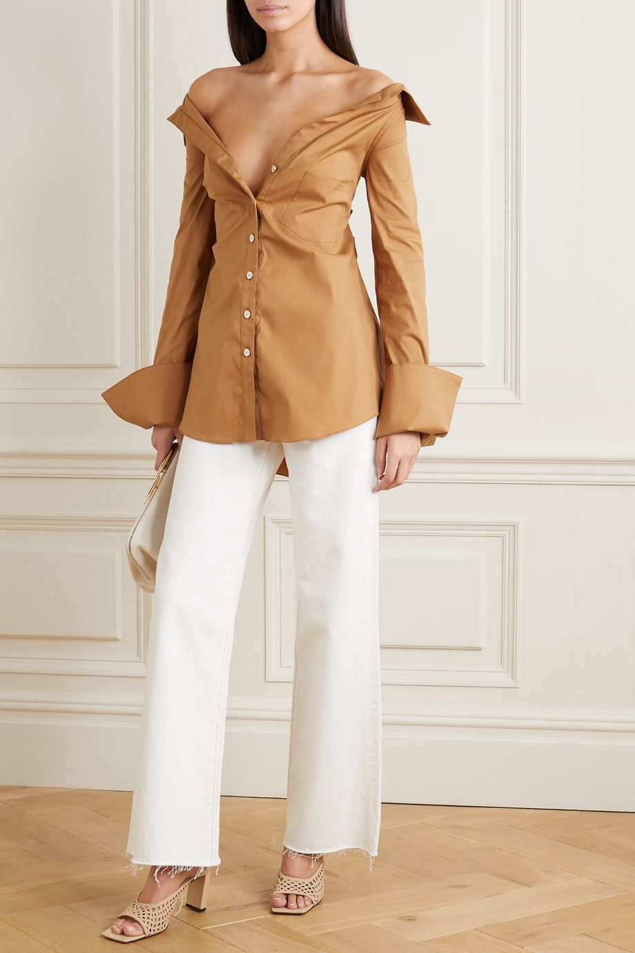 Caroline Constas Amaree off-the-shoulder cutout cotton-blend poplin top