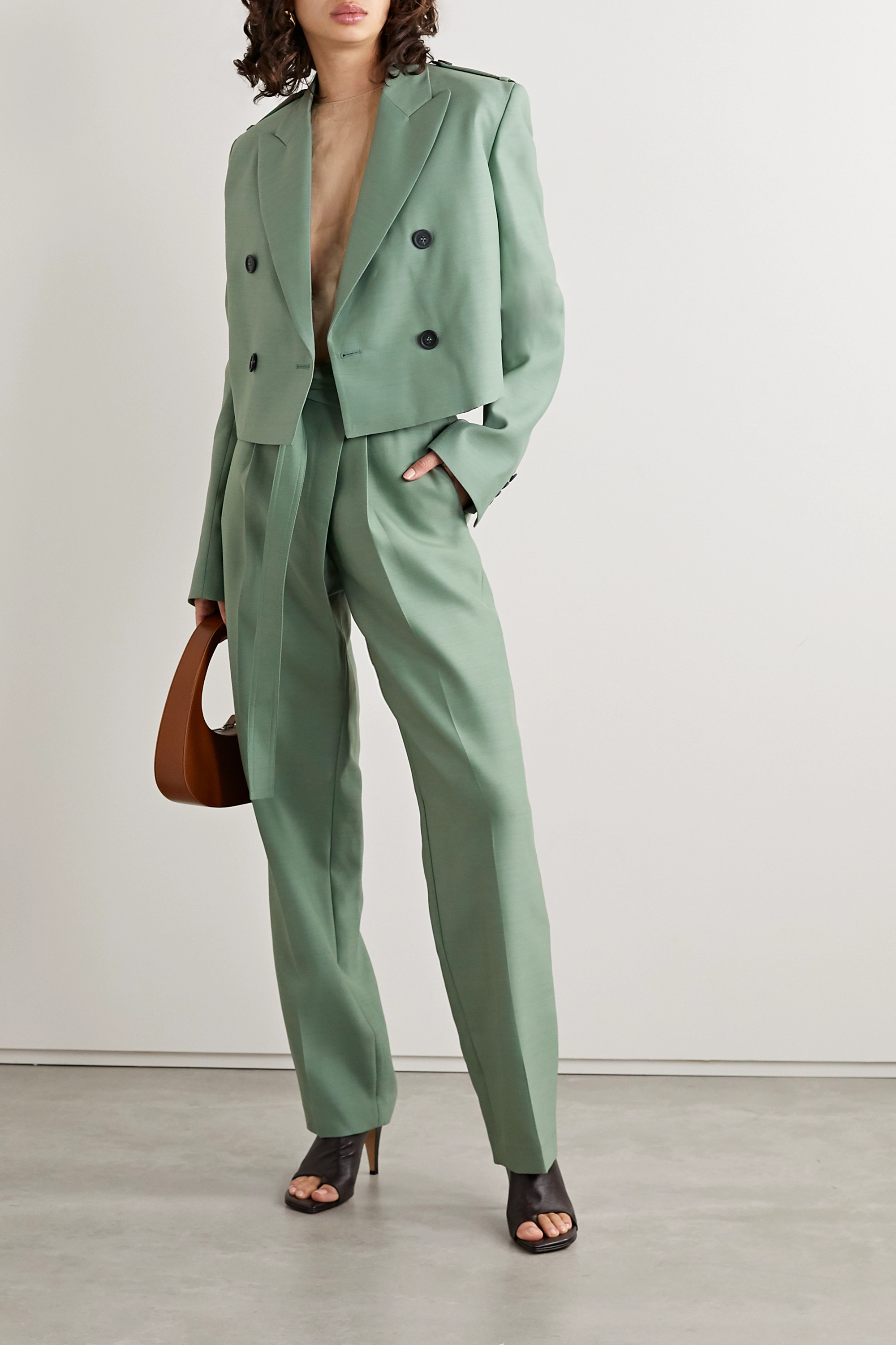 Helmut Lang Cropped wool and silk-blend blazer