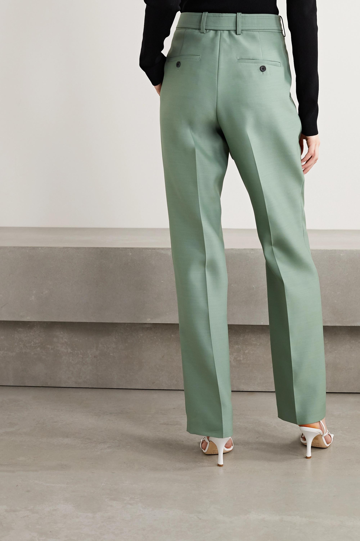 Helmut Lang Belted asymmetric wool and silk-blend straight-leg pants