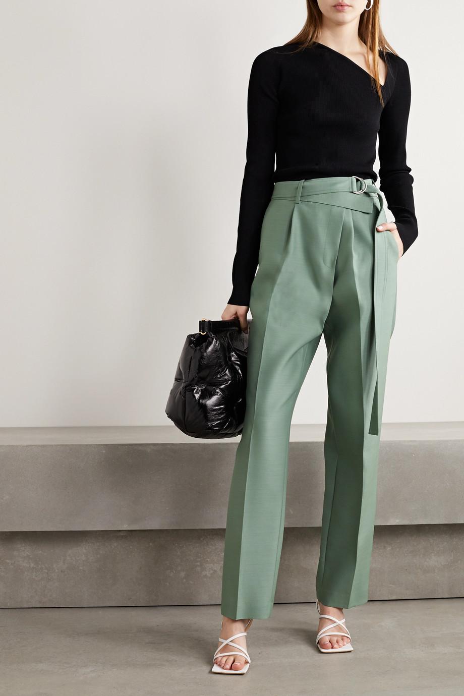 Helmut Lang 配腰带不对称羊毛真丝混纺直筒裤