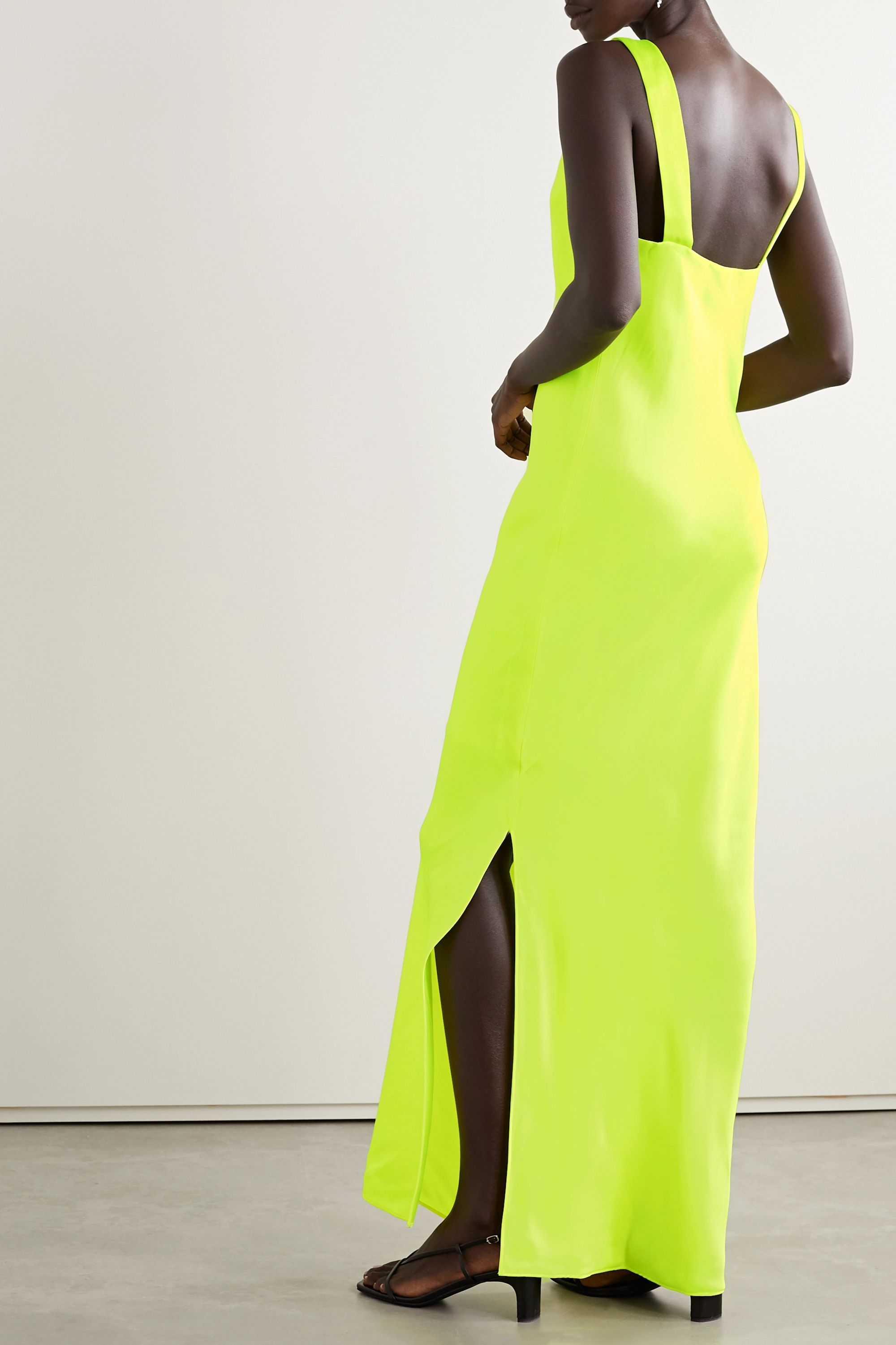 Helmut Lang Neon draped satin gown