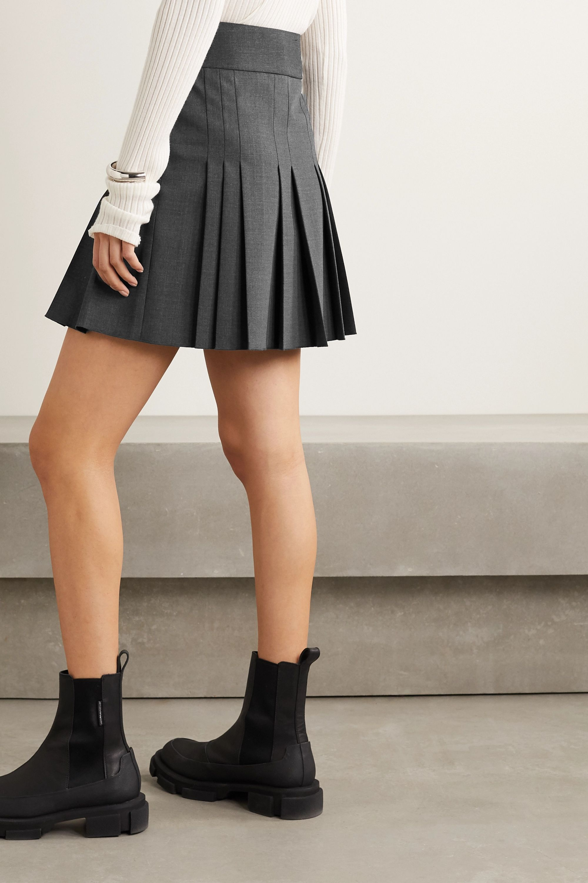 Helmut Lang Buckled leather-trimmed pleated wool-blend wrap mini skirt