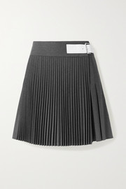 Buckled leather-trimmed pleated wool-blend wrap mini skirt