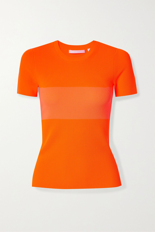 Helmut Lang Two-tone ribbed-knit T-shirt