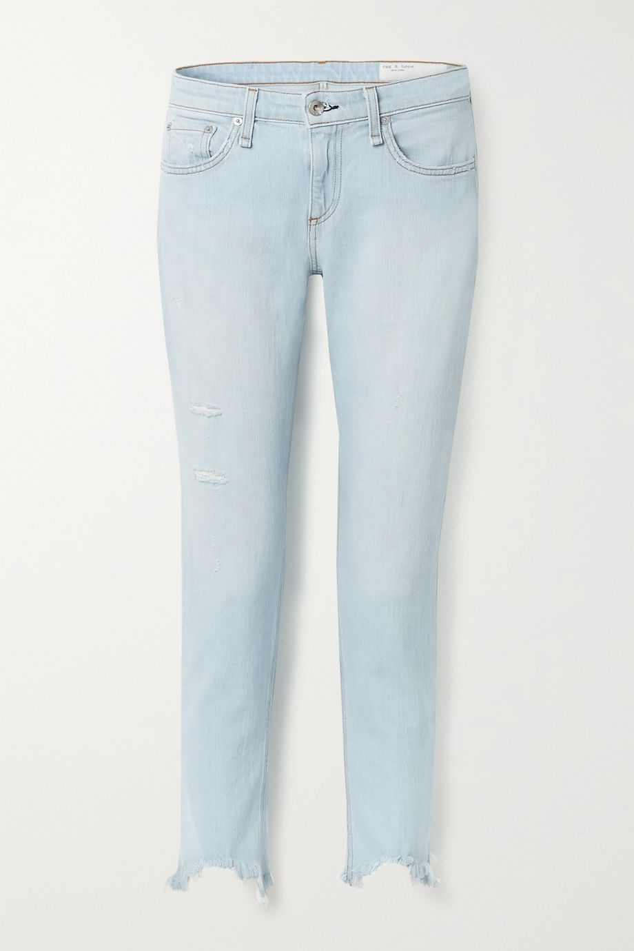 rag & bone Dre cropped distressed low-rise slim-leg jeans