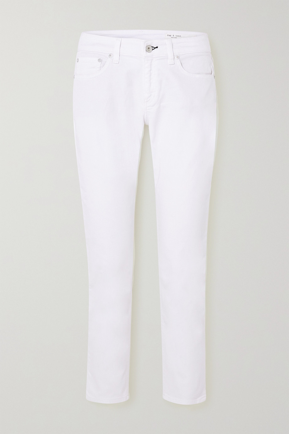 랙앤본 Rag & Bone Dre low-rise straight-leg jeans,White