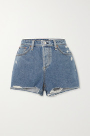 Dre Jeansshorts in Distressed-Optik
