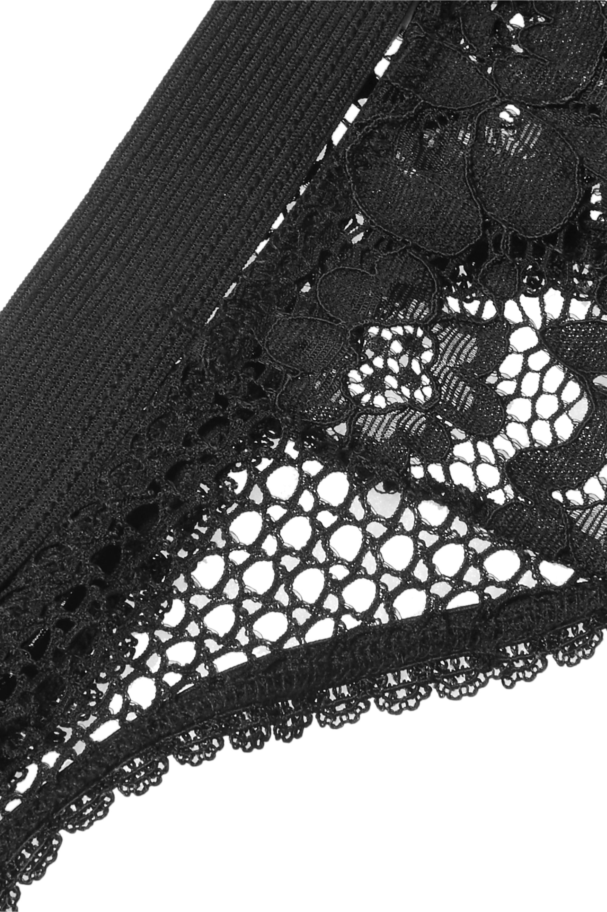 ELSE Petunia stretch-mesh and corded lace thong