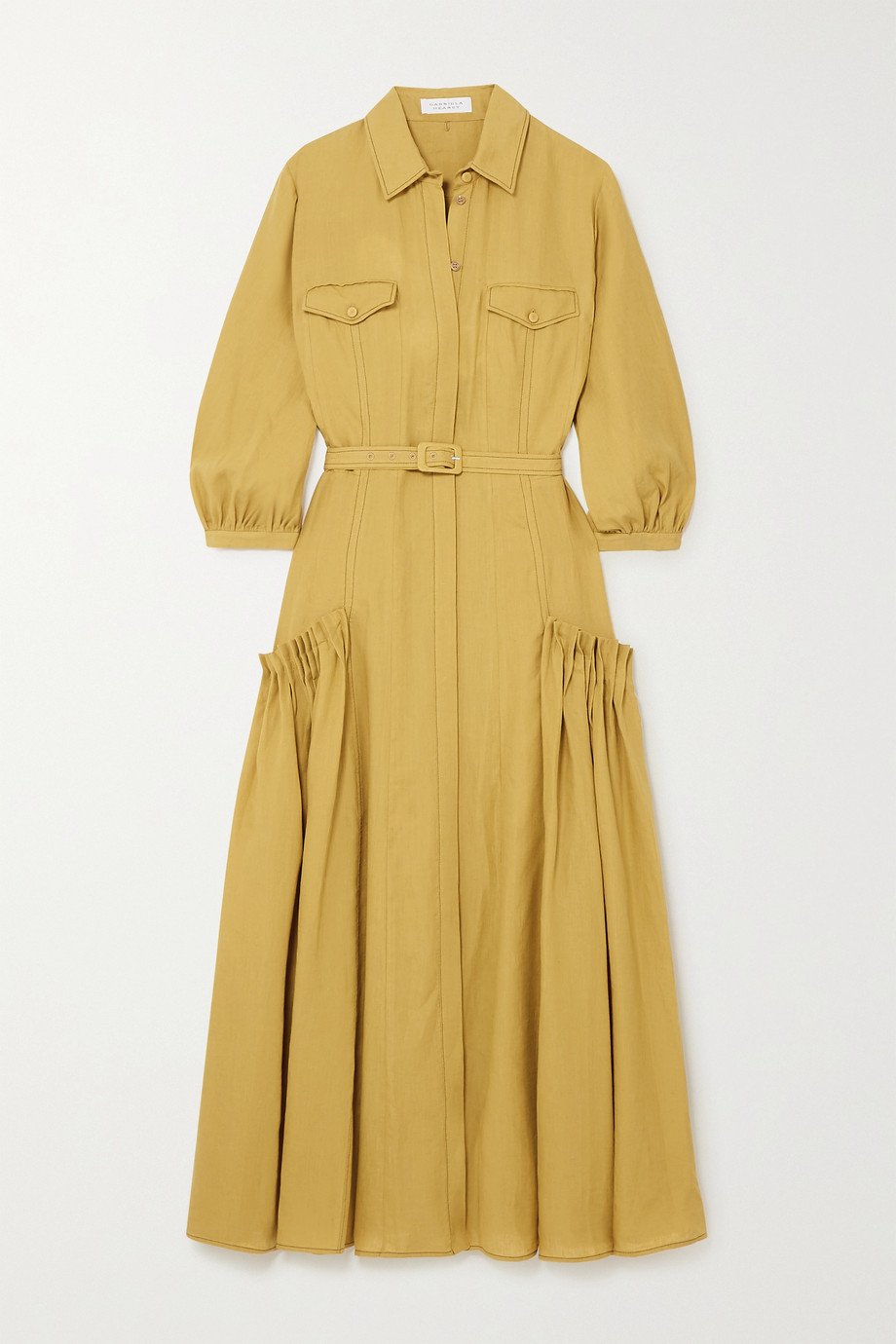 Gabriela Hearst Woodward belted gathered linen shirt dress