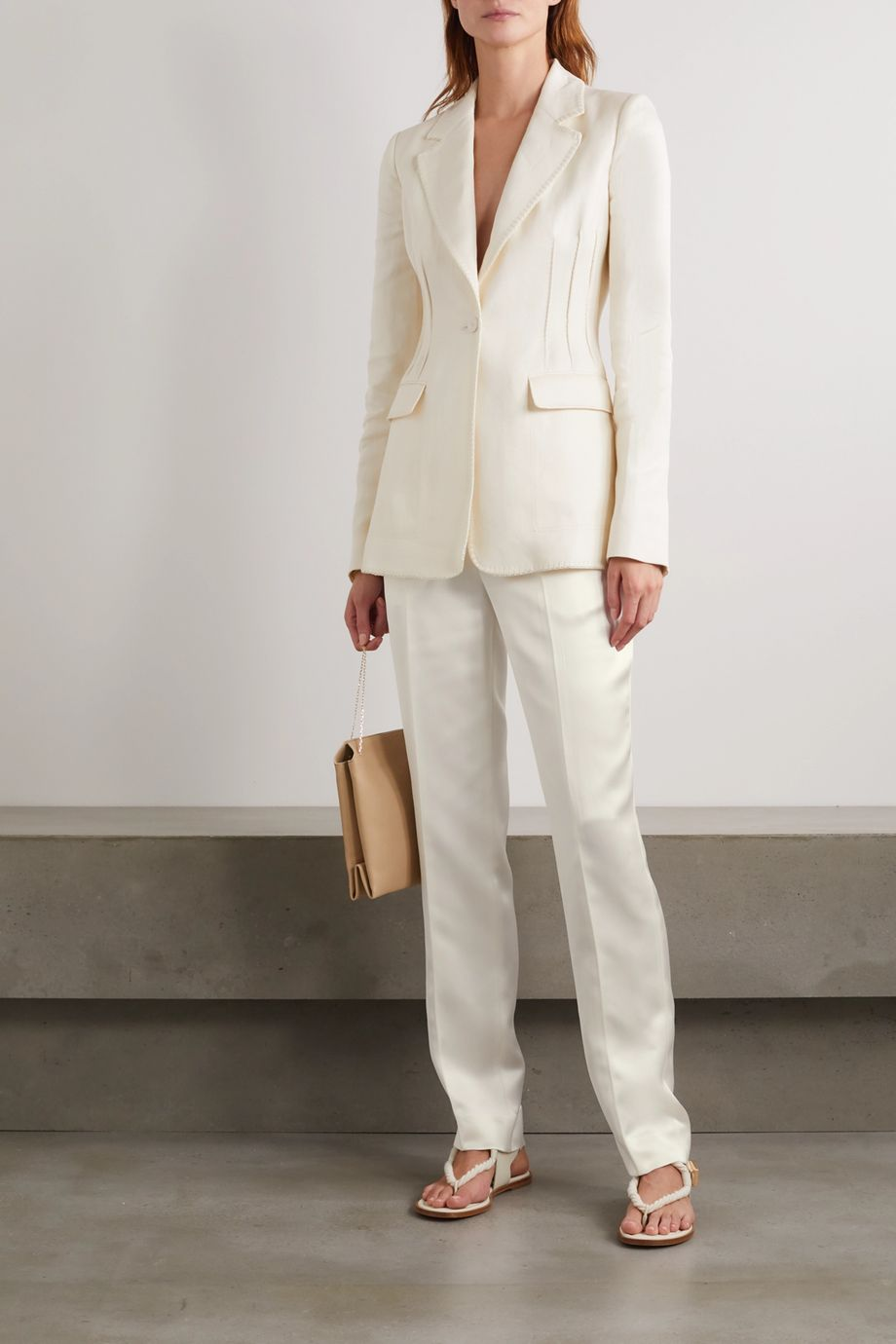 Gabriela Hearst Minos pintucked embroidered linen blazer