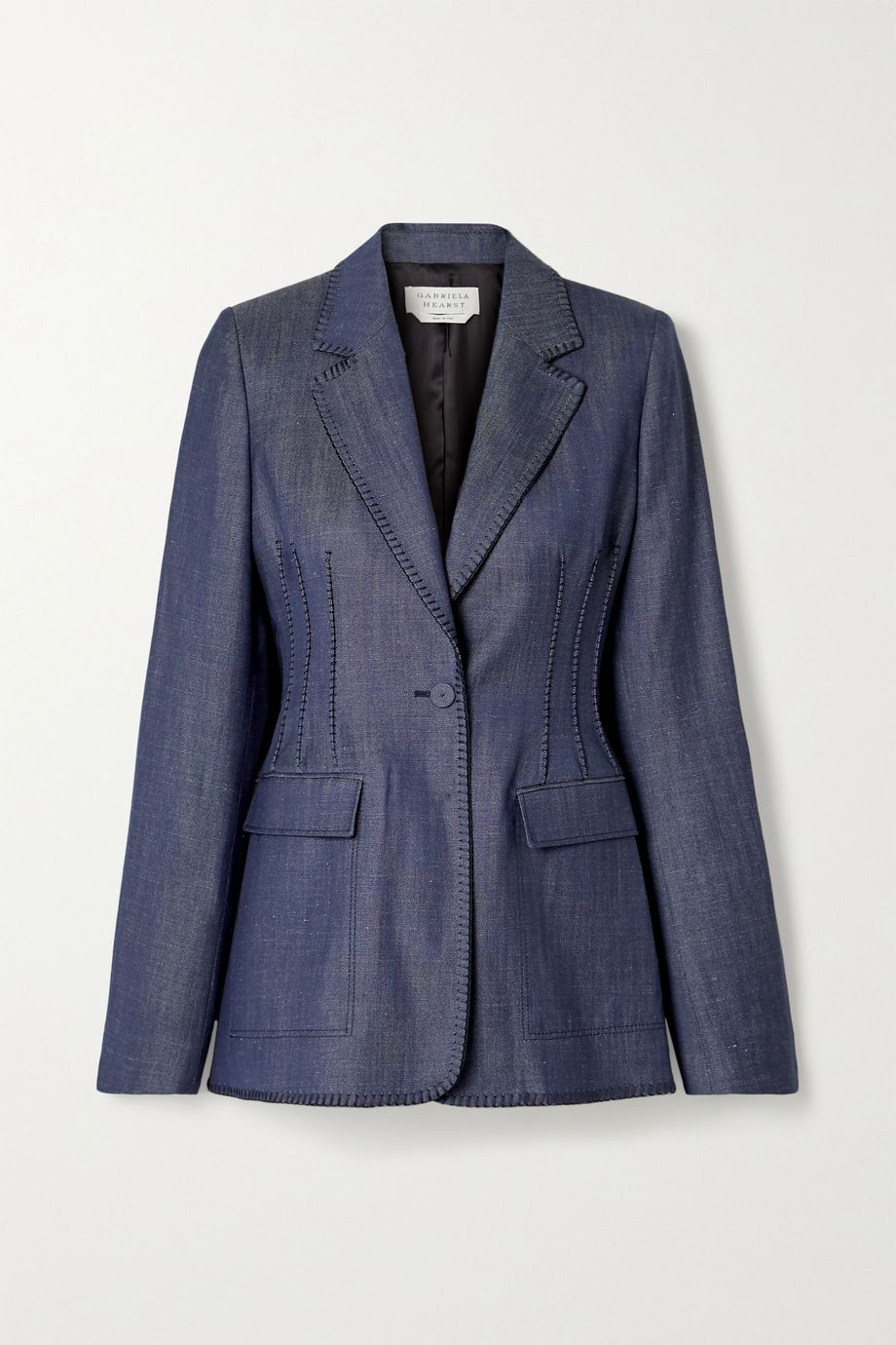 Gabriela Hearst Minos whipstitched linen blazer