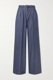 Gabriela Hearst Vargas belted wool, silk and linen-blend wide-leg pants
