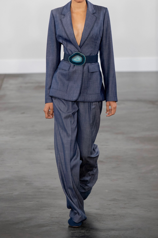 Gabriela Hearst Pantalon large en laine, soie et lin mélangés à ceinture Vargas