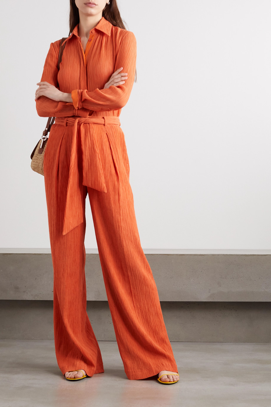 Gabriela Hearst Thomazia plissé cotton and silk-blend wide-leg pants