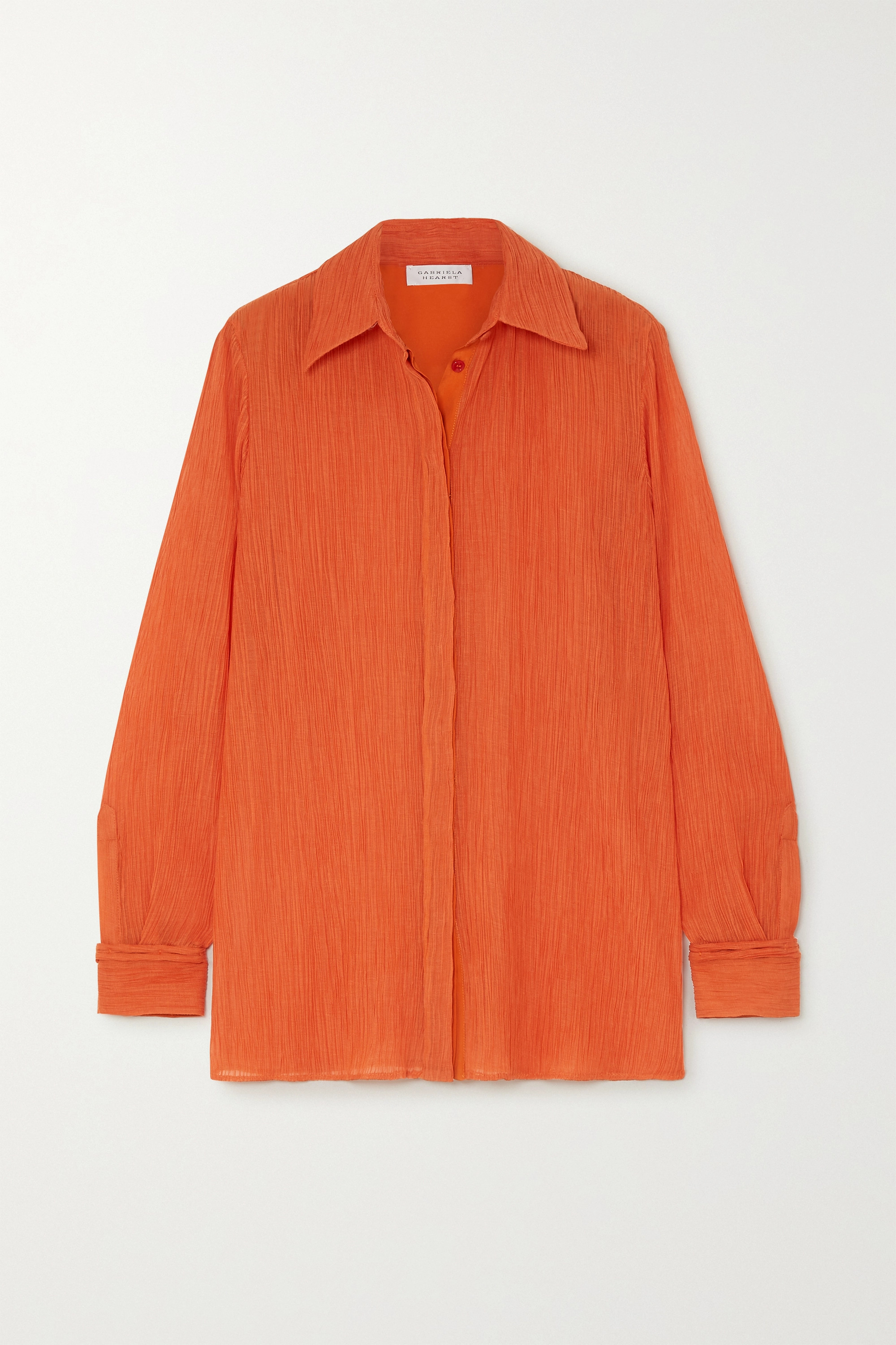 Gabriela Hearst Cruz plissé cotton and silk-blend shirt