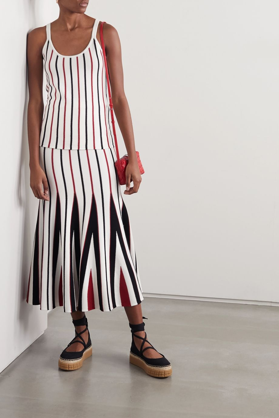 Gabriela Hearst Aegina striped wool midi skirt