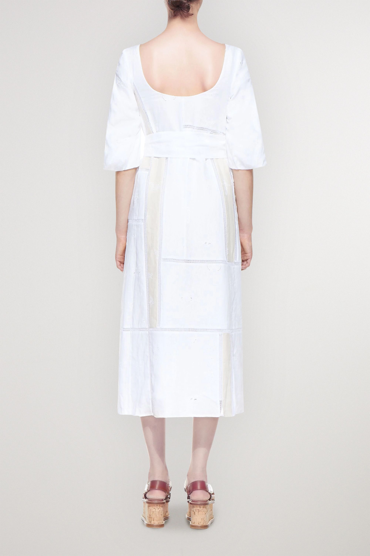 Gabriela Hearst Daphine belted embroidered linen midi dress