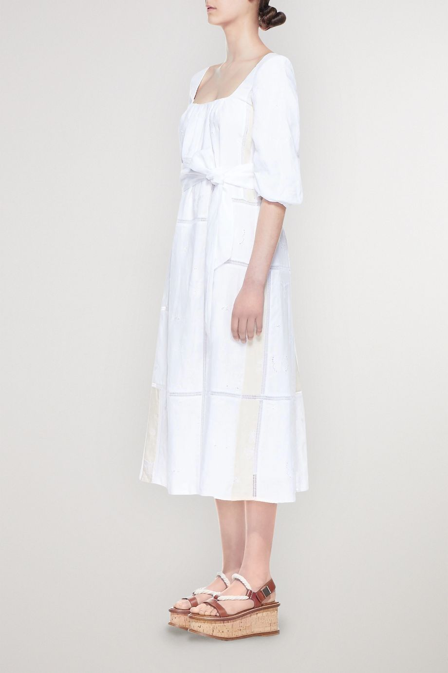 Gabriela Hearst Daphine belted embroidered linen midi dress