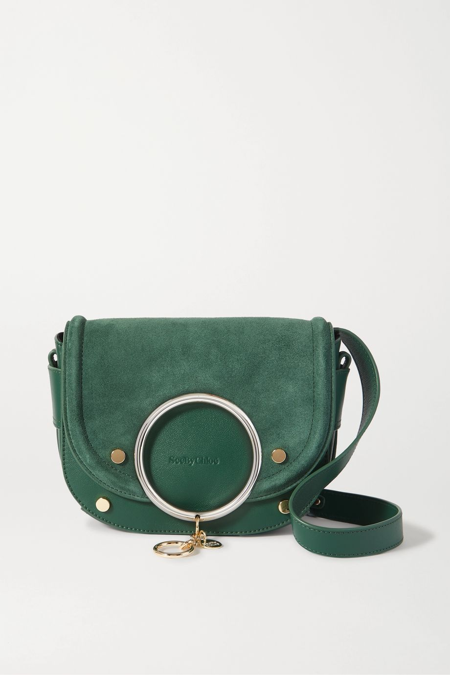 See By Chloé Mara embellished suede and leather shoulder bag