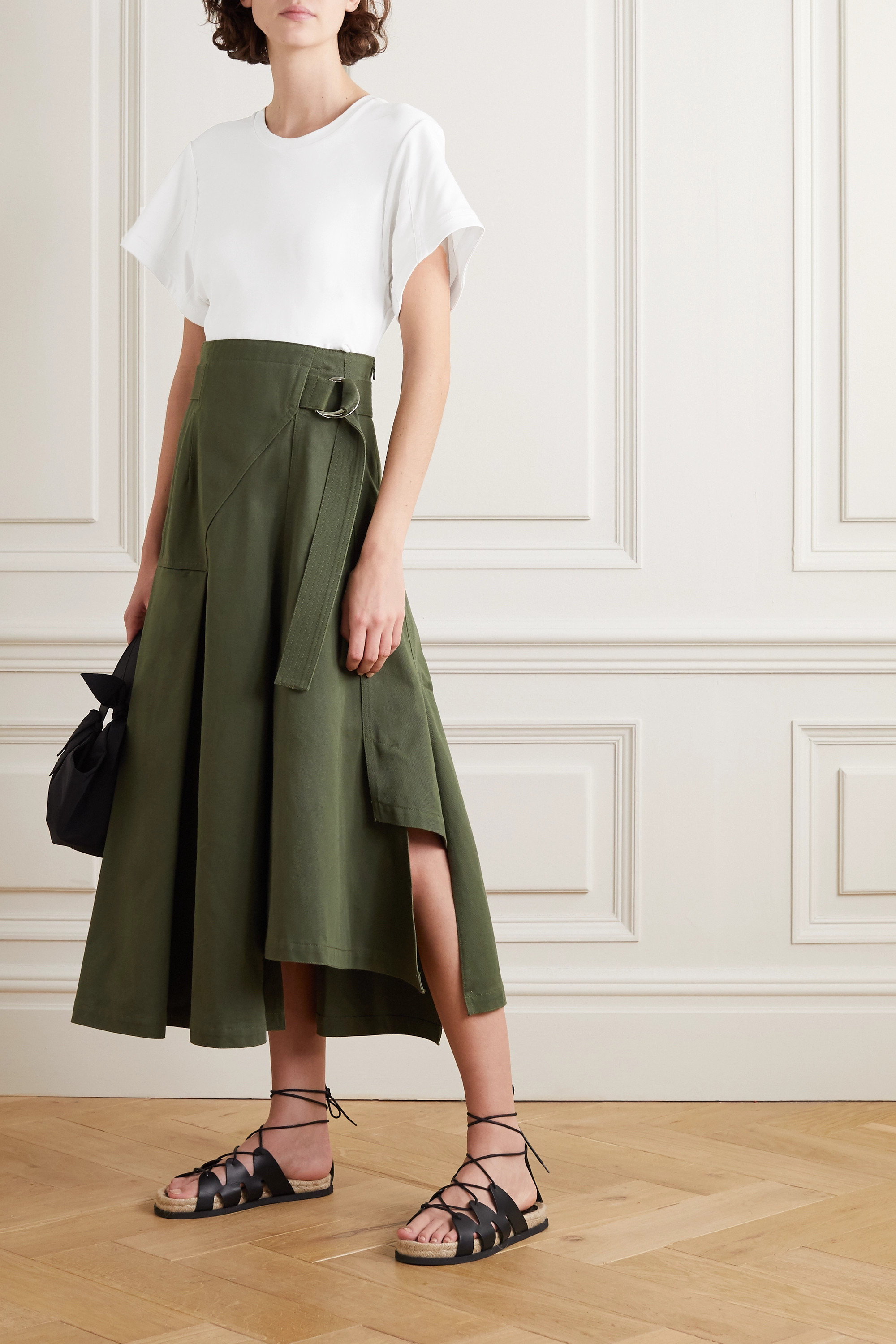 3.1 Phillip Lim + Space for Giants belted pleated organic cotton-jersey and twill midi dress