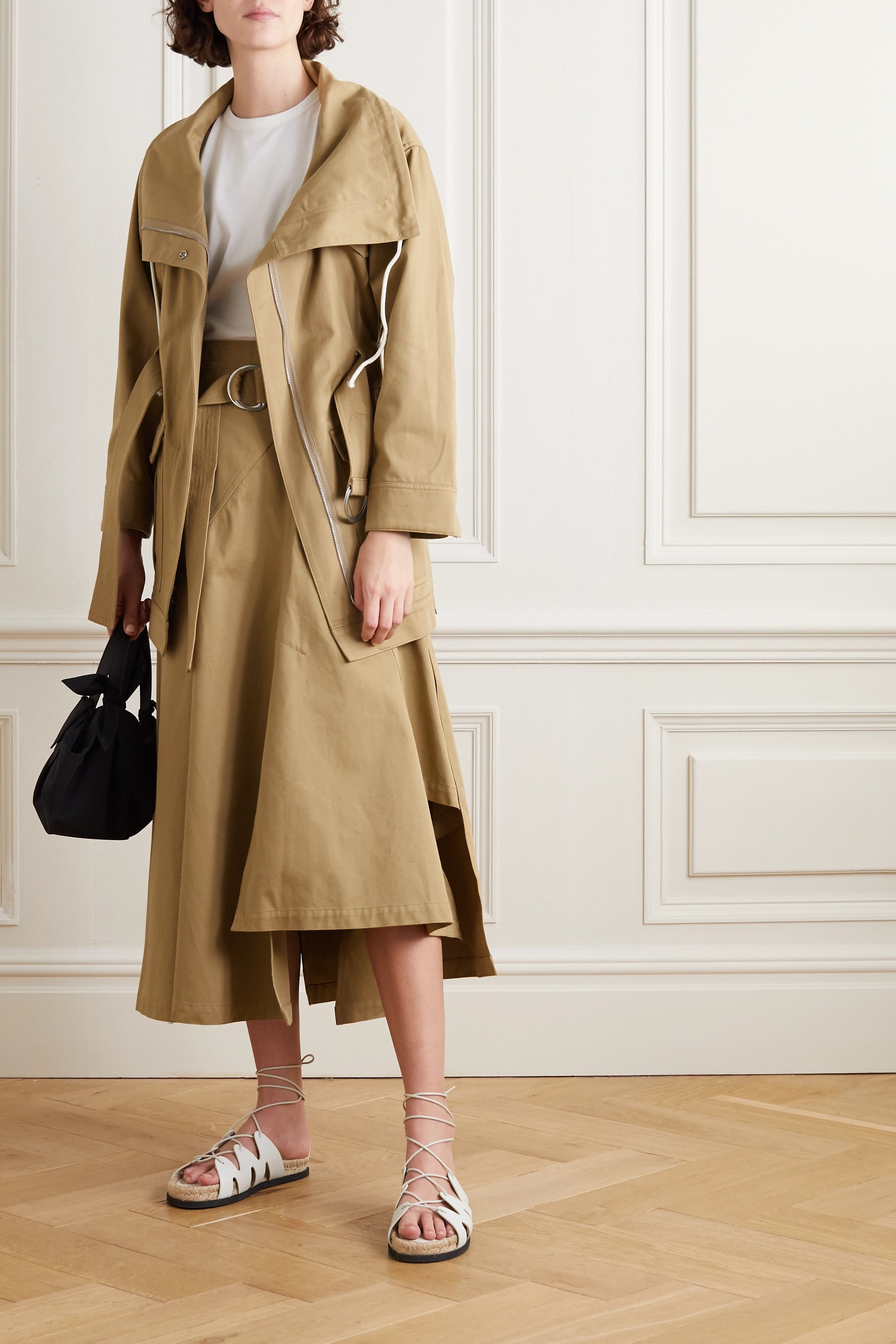 3.1 Phillip Lim + Space for Giants belted asymmetric pleated organic cotton-twill skirt