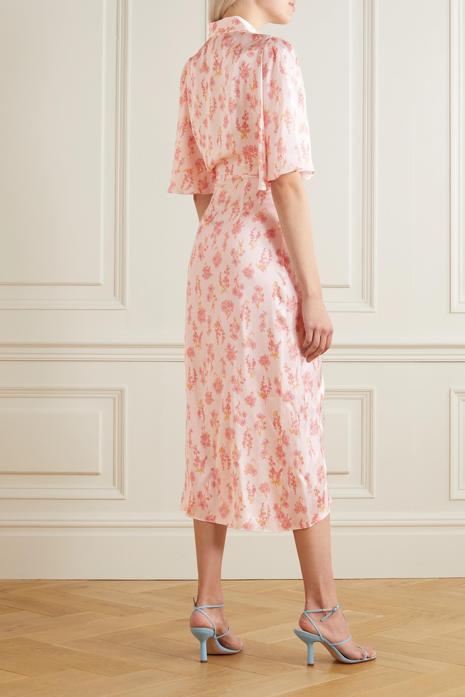 Les Rêveries Ruffled floral-print silk-satin wrap midi dress