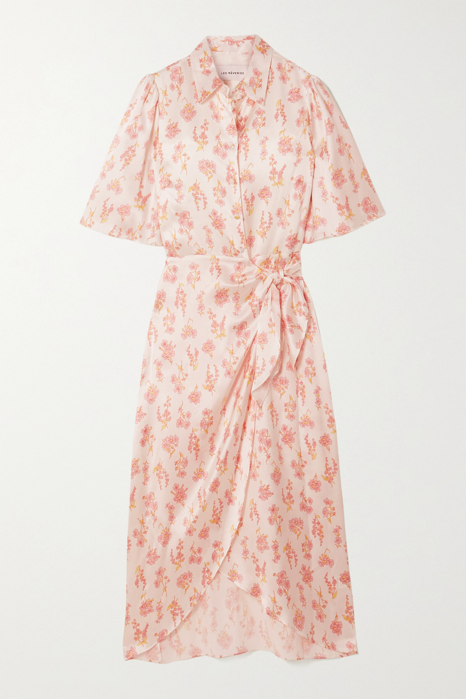 Les Rêveries Ruffled floral-print silk-satin wrap midi dress