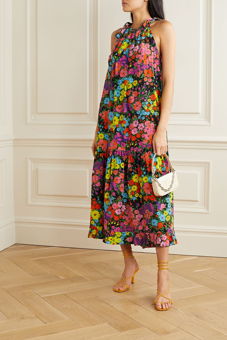 Les Rêveries Tiered ruffled floral-print silk crepe de chine midi dress