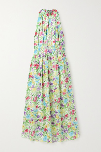 Les Rêveries Pleated Floral-print Silk-satin Halterneck Midi Dress In Blue
