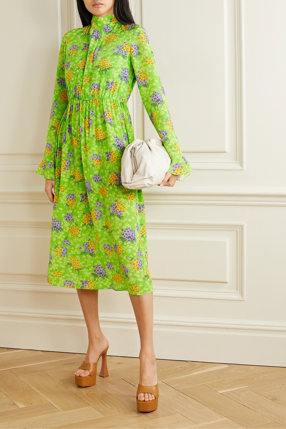 Les Rêveries Gathered floral-print silk-crepe midi dress