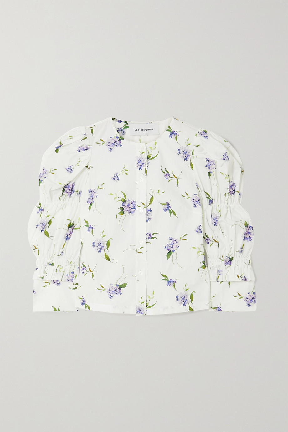 Les Rêveries Elizabeth ruched ruffled floral-print cotton-poplin shirt