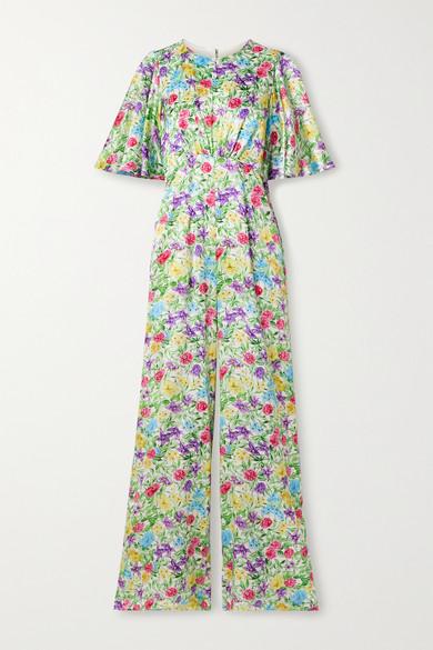 Les Rêveries Floral-print Silk-satin Jumpsuit In Green