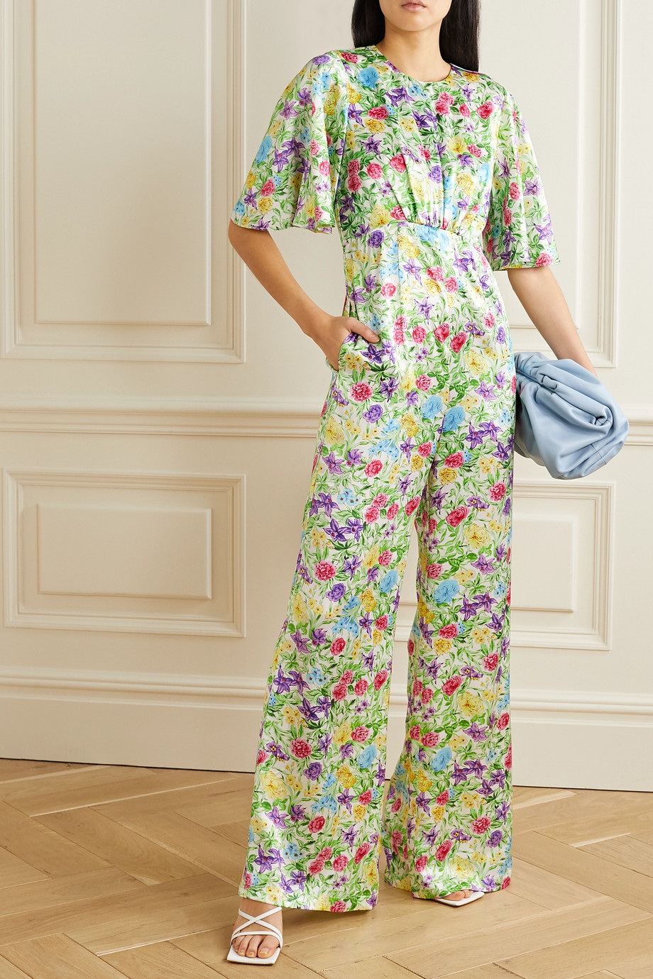 Les Rêveries Floral-print silk-satin jumpsuit