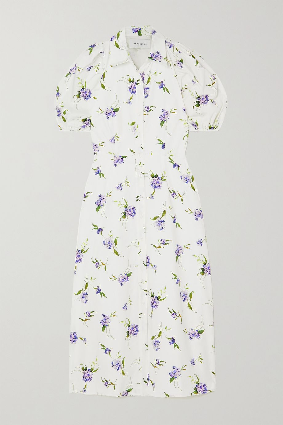 Les Rêveries Cutout floral-print cotton-poplin shirt dress