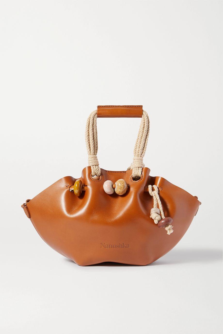 Nanushka Lynne mini bead-embellished rope-trimmed leather tote